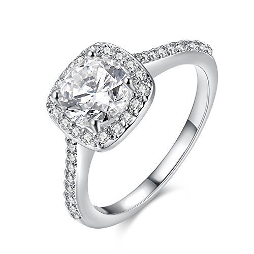 Uloveido Silver 925 Cushion Cut Cubic Zirconia Wedding,Engagement Rings for Women,Square Ring Gift for Graduation,Platinum Plated (Size 7) LJ074