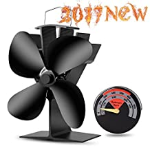 Heat Powered Stove Fan-2017 New Designed Silent Operation 4 Blades with Stove Thermometer for Wood/Log Burner/Fireplace- Eco Friendly(Black)