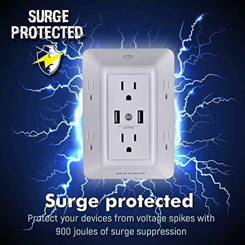 Large Product Image of Maximm USB Wall Charger, Surge Protector (900 Joules), 6-Outlet Extender with 2 USB Charging Ports (2.4A Total) and Night Light, 3-Sided Power Strip with Adapter Spaced Outlets - White