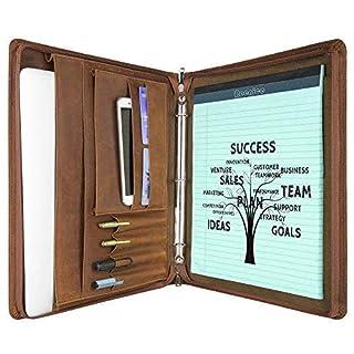 Vintage 3-Ring Binder Portfolio Custom Engraved Distressed Leather Padfolio Case Business Organizer for iPad Surface Pro/Book MacBook Folio Folder, Zippered Closure, Handmade for Women/Men