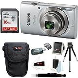 Canon PowerShot ELPH 180 20 MP Digital Camera (Silver) w/16GB Accessory Bundle