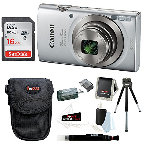 (Canon PowerShot ELPH 180 20 MP Digital Camera (Silver) w/ 16GB Accessory Bundle)