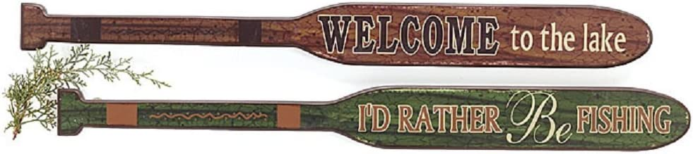 "Set of 2 Rustic 30"" Decorative Oars - Welcome to The Lake & I'd Rather Be Fishing"