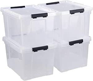 Tstorage 50 Quart Plastic Storage Container with Lid and Wheels Large Storage Bin, Transparent and Black, 4 Packs