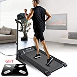 Okapa Folding Electric Treadmill Fitness Walking Running Exercise Machine Trainer Equipment Easy Assembly W/Digital Scale & Cooling Towel(Black)