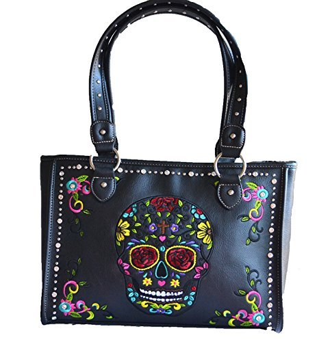 Dead Skull Guns - sugar skull day of the dead embroidery gun concealed carry handbag purse (black)