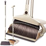 "Extended Broom and Dustpan Set- 50"" Long Handle Rotatable Self Cleaning Broom and Dust Pan with Long Handle, Standing Upright Grips Sweep Set with Lobby Broom Combo Set for Kitchen Garden Garage-Beige"