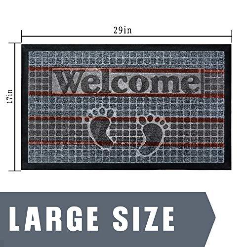 Hexagram Front Welcome Door Mats, 29x17, Heavy Duty, Non-Slip and Durable Rubber Doormat, Indoor Outdoor, Waterproof, Easy Clean,Low-Profile Mats for Entry, Patio, Garage, High Traffic Entrance Ways