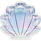 Iridescent Mermaid Party Shaped Paper Plates, 24 ct