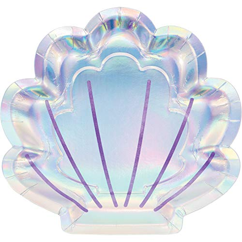 Iridescent Shell - Iridescent Mermaid Party Shaped Paper Plates, 24 ct