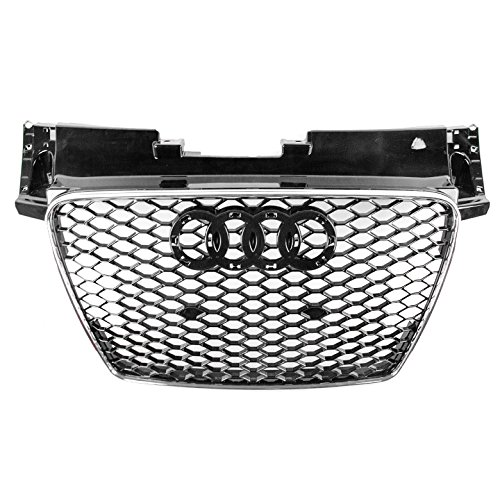 ZMAUTOPARTS For 2007-2014 Audi TT/TT Quattro TTRS Style Honeycomb Mesh Hex Grille Gloss Black with Chrome Trim