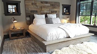 Grey weathered modern industrial reclaimed recycled wood wall mount headboard art