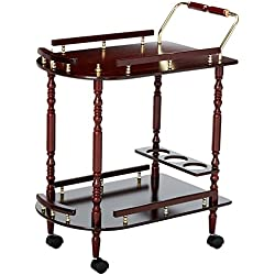 Coaster Traditional Recreation Room Merlot Serving Cart with Brass Accents