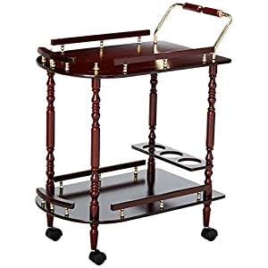 Serving Cart with Brass Accents Merlot and Brass