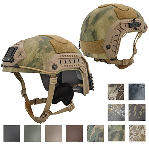 Lancer Tactical Industrial ABS Plastic Constructed Maritime Helmet Simple Fixed Size Version with Side Accessory ARC Helmet Rails NVG Shroud Velcro Panels Adjustable Straps - A-TACS FOLIAGE (Abs Plastic Helmet)