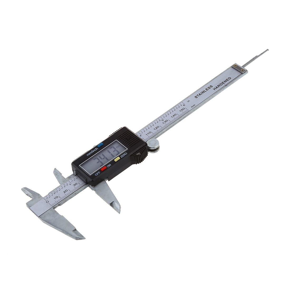 SODIAL 6 pulgadas LCD Nonio Digital Micrometro Herramienta de medicion de precision de acero inoxidable