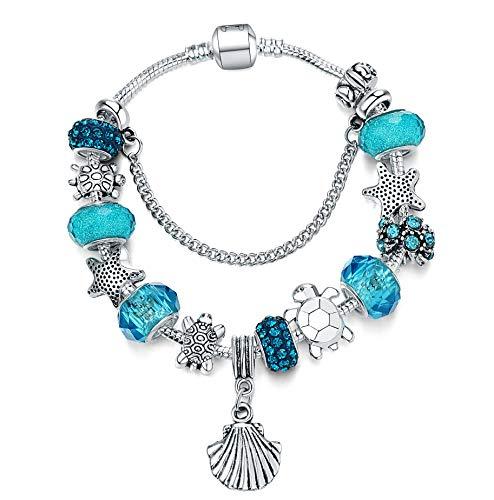 Majesto Beach Charm Bracelet for Women and Girls 8.5 Inch Shell Bracelet Sea Turtle Bracelet Summer Bracelets Sea Glass Jewelry Gifts Silver Plated
