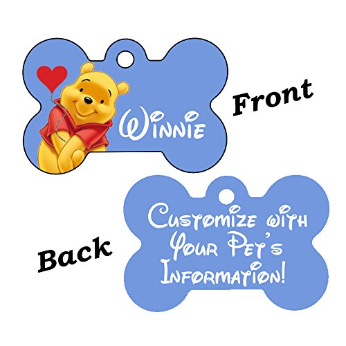 uDesignUSA Disney Double Sided Pet Id Tags for Dogs & Cats Personalized for Your Pet (Winnie The Pooh, Bone Shaped)