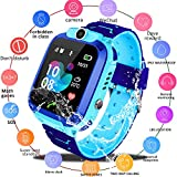 Smart Watch for Kids GPS Tracker - IP67 Waterproof Smartwatches with SOS Voice Chat Camera Flashlight Alarm Clock Digital Wrist Watch Smartwatch Girls Boys Birthday Gifts (03 Waterproof Blue)