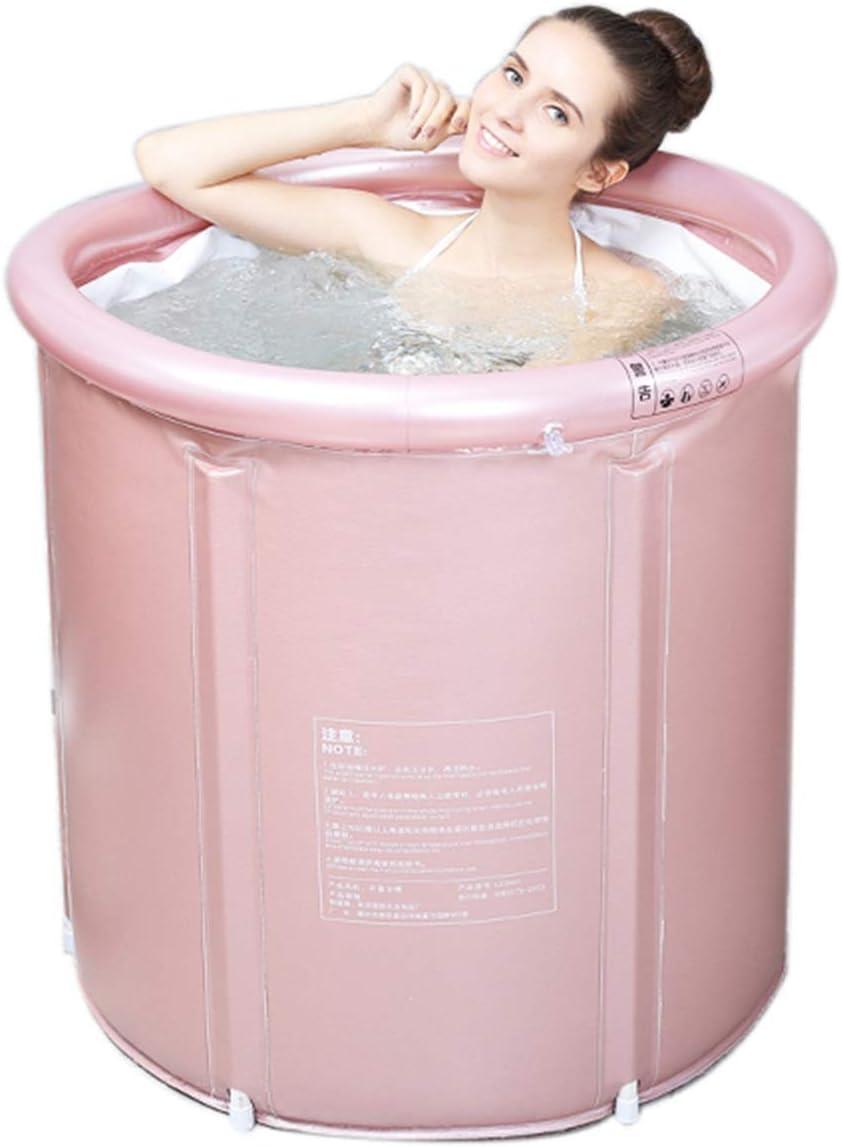 Bañera Plegable Bañera De Baño Portátil De PVC Bañera Plegable para Familia Baño De SPA Al Aire Libre (Color : Rose Gold)