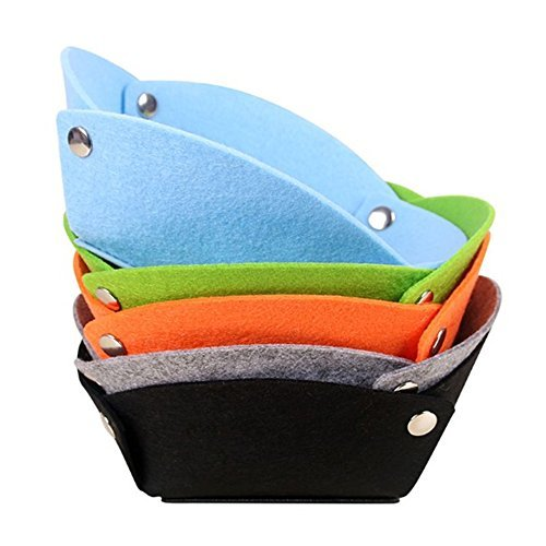 AiBuy Folding Wool Felt Valet Tray |Desktop Travel Storage Basket Box |Soft Fabric Nightstand Tray|Jewelry Tray |Catch-All Tray |Bedside Wallet Keys Storage Tray |Edc Tray For Women Men (Pack of 5)