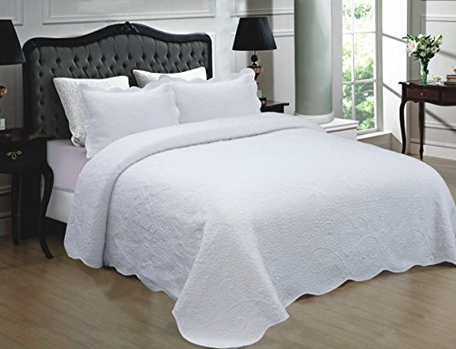 Mk Collection 3pc Quilted bedspread Embroidery Solid 100% Cotton New (Full/Queen, White)