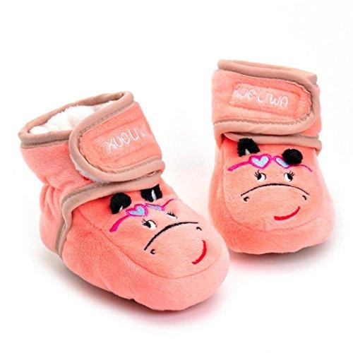 Clode® Neugeborene Säuglingsbaby Mädchen Karikatur Krippe Schuhe weiche alleinige Anti Rutsch Stiefel Rosa