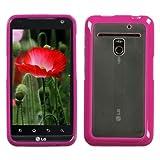 MYBAT LGVS910CASKGM0030NP Sensual Gummy Transparent Protective Case for LG Revolution VS910 – 1 Pack – Retail Packaging – Clear/Solid Hot Pink, Best Gadgets