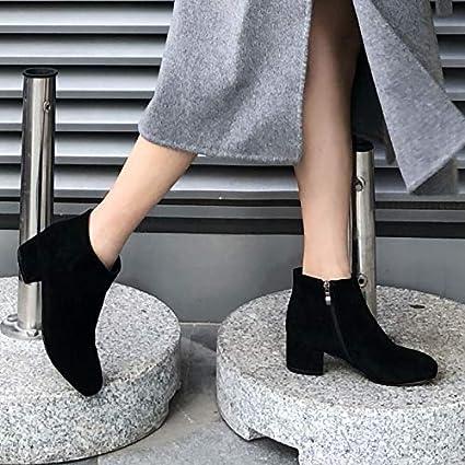 Shukun Botines Botas cortas de PU para mujer de otoño e invierno con un solo calzado