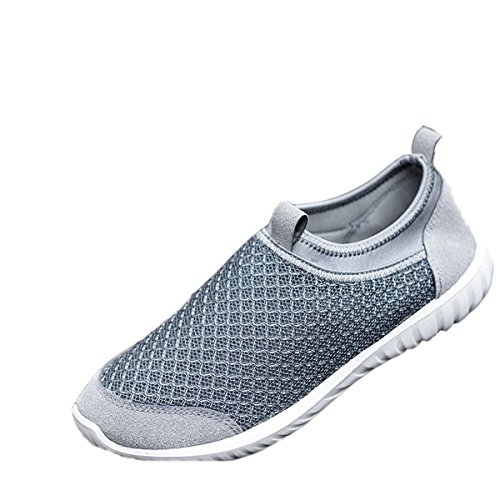 VECJUNIA Mens Casual Slip-On Shoes Net Shoes Loafers Flats Gray cuOqMGz