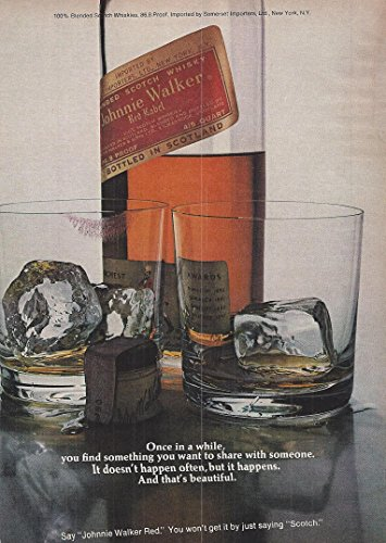 1973 Vintage Alcohol Advertisement Blended Scotch Johnnie Walker Red Label Scotch Whisky Red Label Whiskey