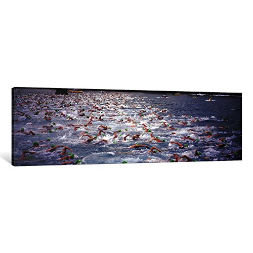 iCanvasART 1 Piece Triathlon athletes swimming in water in a race, Ironman, Kailua Kona, Hawaii, USA Canvas Print by Panoramic Images, 48 x 16''/1.5'' Deep by iCanvasART