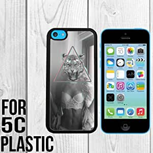 Sexy Girl Tiger Custom made Case/Cover/skin FOR iPhone 5c -Black - Snap On Plastic Case (Ship From CA)