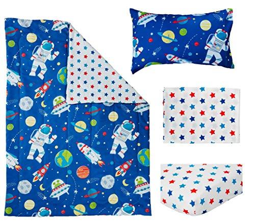Bloomsbury Mill - 4 Piece Toddler Comforter Set - Outer Space, Rocket & Planet - Blue - Kids Bedding Set 2