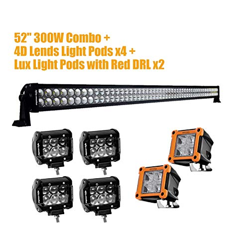 "Eyourlife 52"" LED Light Bar 300W With 4PCS 18W 4'' 4D LED Li"