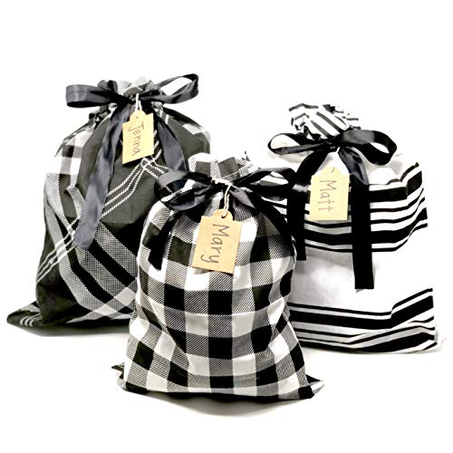 (Appleby Lane Reusable Fabric Gift Bags (Large Set, Plaids & Stripes) Set of 3 Bags, Two 16x20 inch and one 12x16 inch)