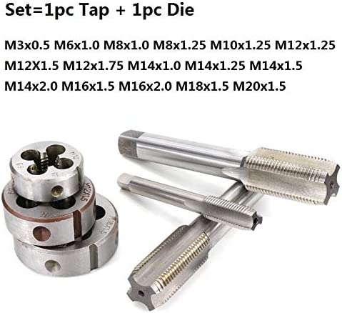 L-Yune, 2pcs Left Hand Tap And Die Set HSS Machine Plug Tap Die Metric Screw Thread Tap Drill M3/M6/M8/M10/M12/M14/M16/M18/M20 (Size : 2pcs M20x1.5 Set)