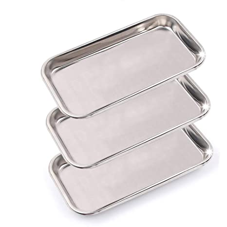 Pack of 6 Stainless Steel Instrument Trays with Strap Handle 8.5 x 3 x 1.5 Catheter Trays Organizer Holder with Lid 8 1//2 x 3 x 1 1//2 Surgical Dental Procedure Trays Steel Dish with Lid.