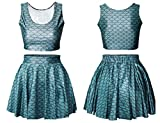King Ma Women's Fashion 3d Digital Print Reversible Crop Top + Skirt 2 Pieces Vintage Clubwear (The Little Mermaid-blue)