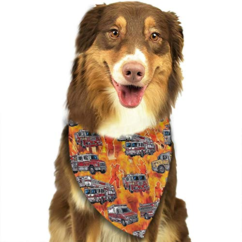 OURFASHION Firetrucks Orange Bandana Triangle Bibs Scarfs Accessories for Pet Cats and Puppies]()