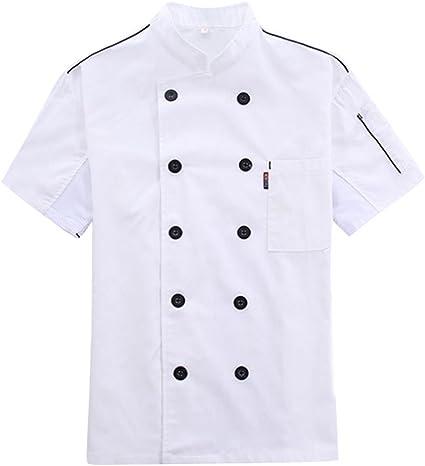 YaaQun Camisa de Cocinero Cocina Uniforme Manga Corta ...