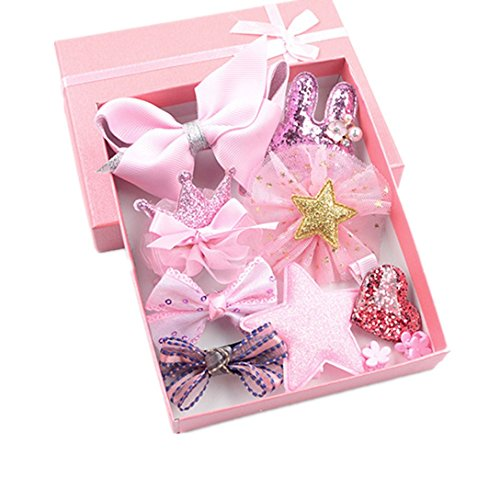 Baby Gift Baskets, 10 Piece Baby Princess Hairpin Set with Gift Box, Gift for Newborn Baby Girl (10 Piece / Pack, Pink) (Princess Gift Baskets)