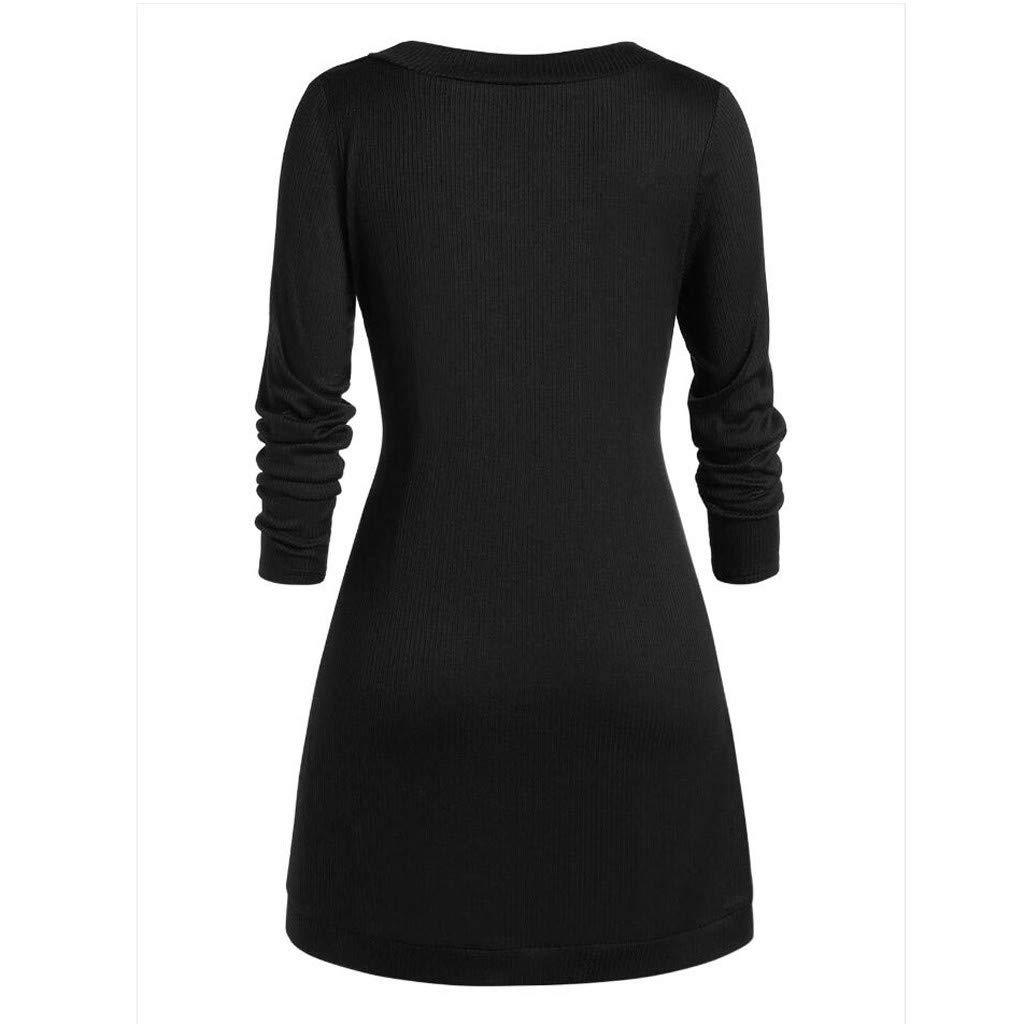 Womens Button Hoodie Crew Neck Sweatshirt Tunic Dress Pullover Asymmetric Solid Drawstring Tops Sweatshirt Tops Outwear