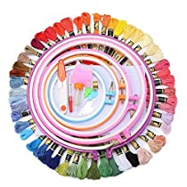 Full Range of Embroidery Starter Kit Cross Stitch Tool Kit Including 5 Pcs Plastic Embroidery Hoop, 50 Color Threads, 2pcs 12 by 18 Inch 14Count Classic Reserve Aida and Toolkit
