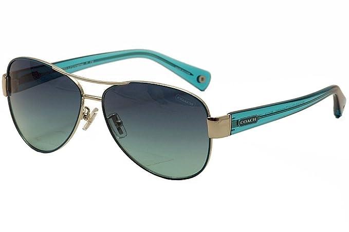 d2577ebc7f3fe ... czech coach kristina hc7003 hc 7003 9124 4s silver turquoise aviator  sunglasses 59mm 273f7 7d922