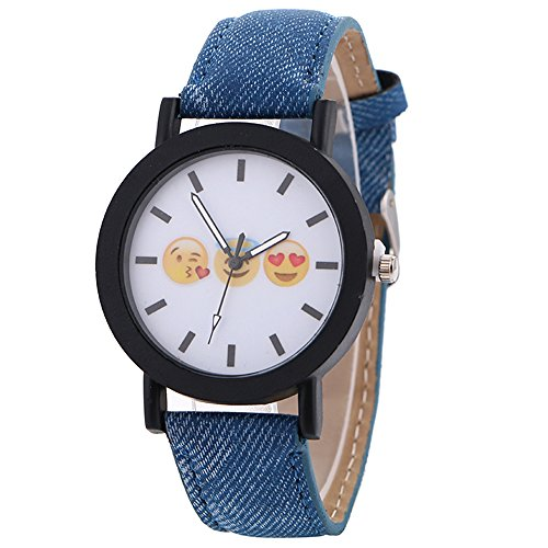 Denim Womens Watch (MINILUJIA Emoji Smile Face novelty Watch with PU Leather Strap Jeans Color Analog Watch Blue)