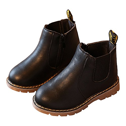 Toddler Girls Chelsea Boots Side Zip Flat Ankle Boots with Elastic Side Tabs Black Size (24 Baby Footwear Boots)