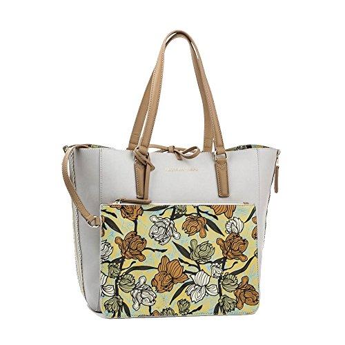 TRUSSARDI JEANS Borsa shopping bag Kuala lumpur orchid print Panna