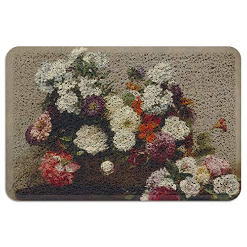 EZON-CH Outdoor Doormat for Entrance Way Front Welcome Mat,Henri Fantin-Latour- Still Life with Flowers Doormats for Bedroom Living Room Kitchen Indoor Washable Shoes Scaper,24 x 35 Inch
