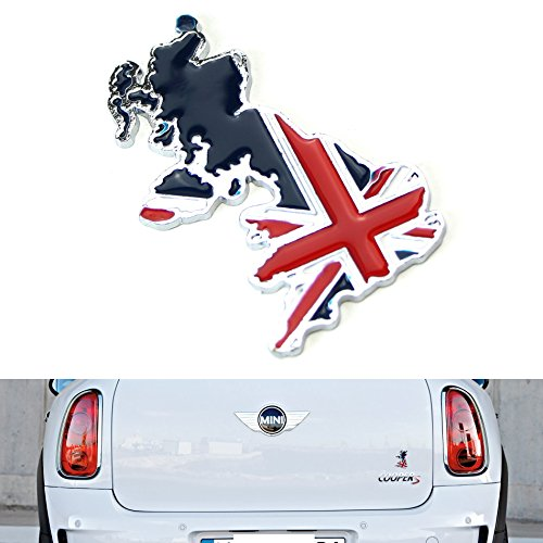 iJDMTOY Aluminum Plate UK Flag Map Emblem Badge For UK Car Front Grille, Side Fenders, Trunk, Dashboard Steering Wheel, - Rlx Uk